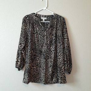 Dana Buchman is 3/4 Sleeve Animal Print Blouse